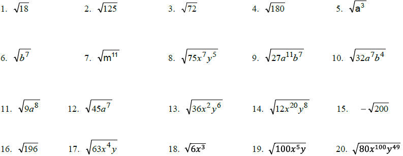 Simplifying Radical Expressions With Variables And Exponents – Simplify Expressions Worksheet